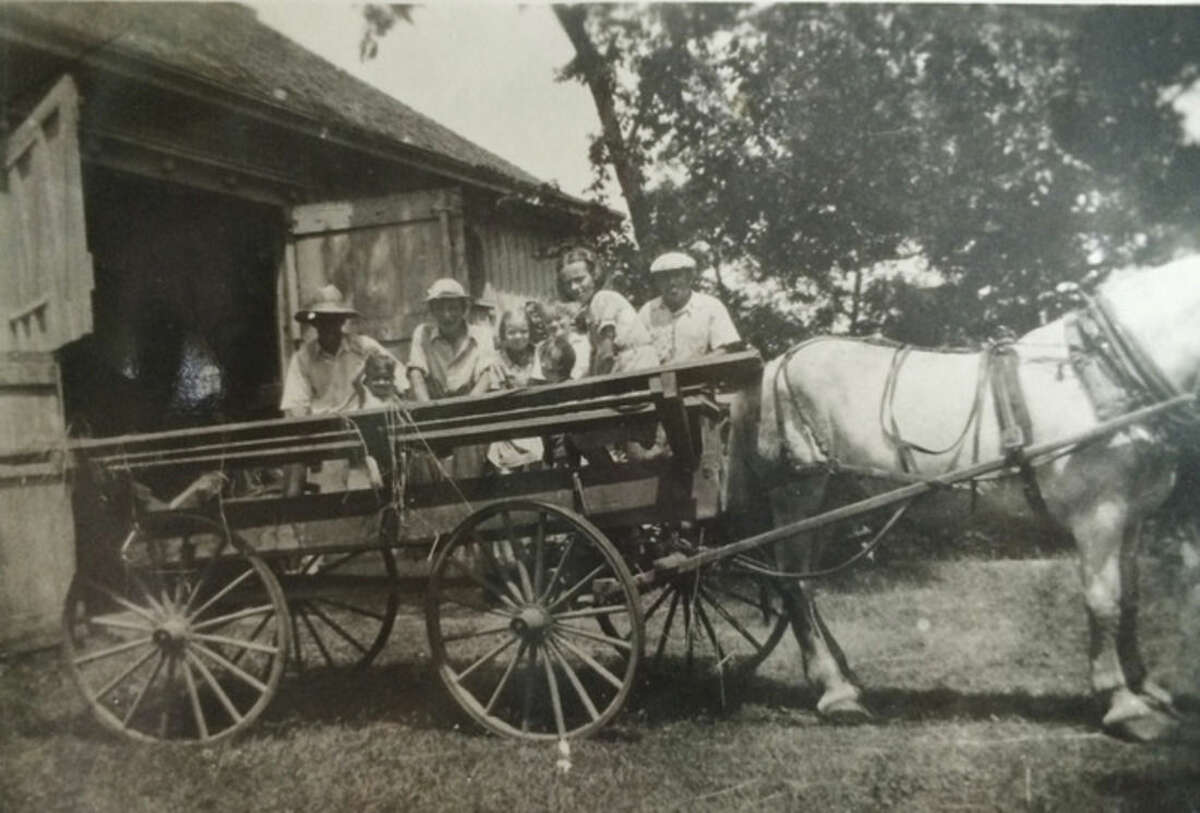 Photo courtesy of Dolores Hallacy Meehan Joe, the estate work horse, with the family in the wagon.