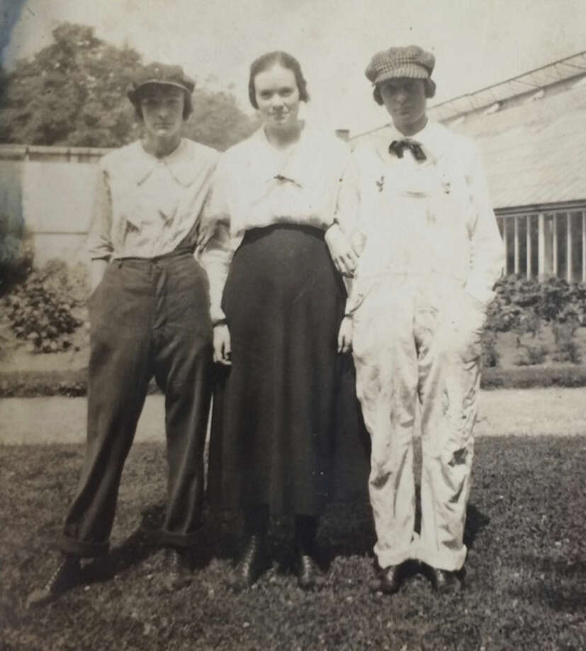 Photo courtesy of Dolores Hallacy MeehanMary and Rose with an Irish cousin in front of the hot houses in the a garden work clothes, c. 1915.