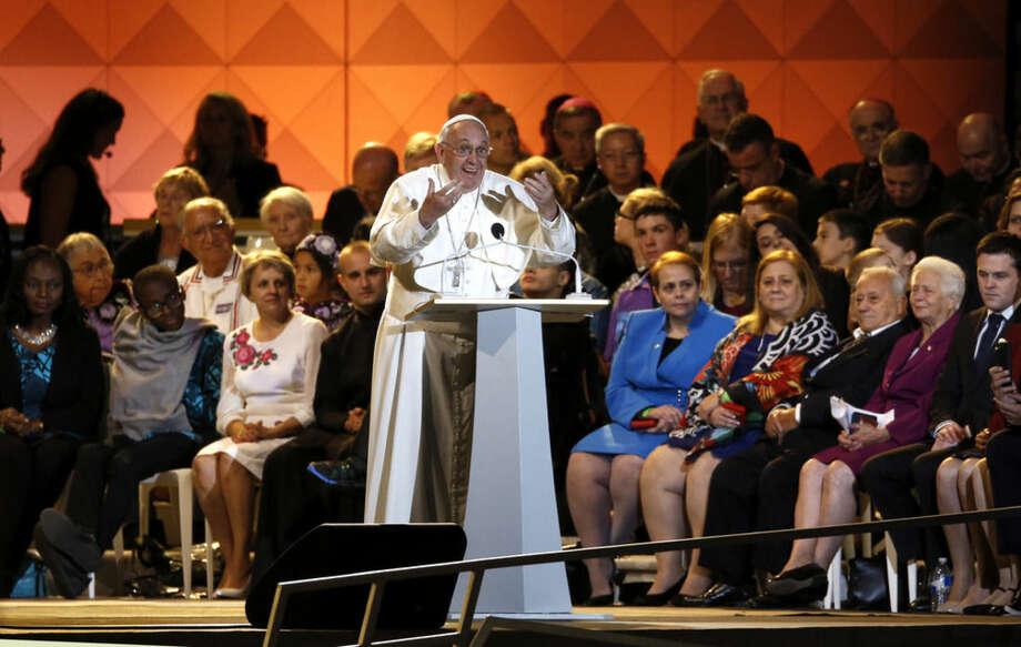 Pope Francis speaks during the Festival of Families, Saturday, Sept. 26, 2015, in Philadelphia. (AP Photo/Matt Slocum)
