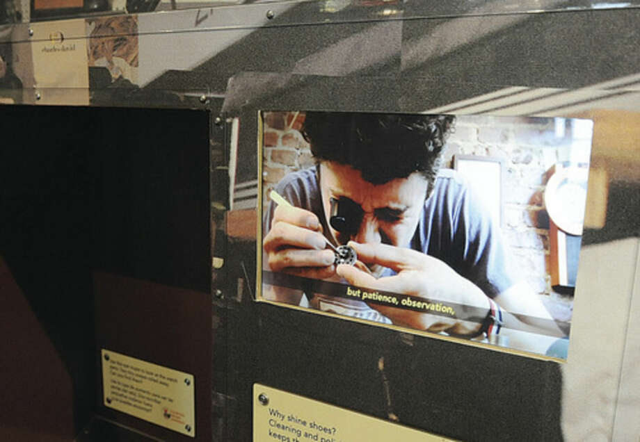An interative video showing watch repair at one of the stations at the Stepping Stones Museum for Children where kids visited the opening of the new exhibit Broken? Fix it. Hour photo/Matthew Vinci