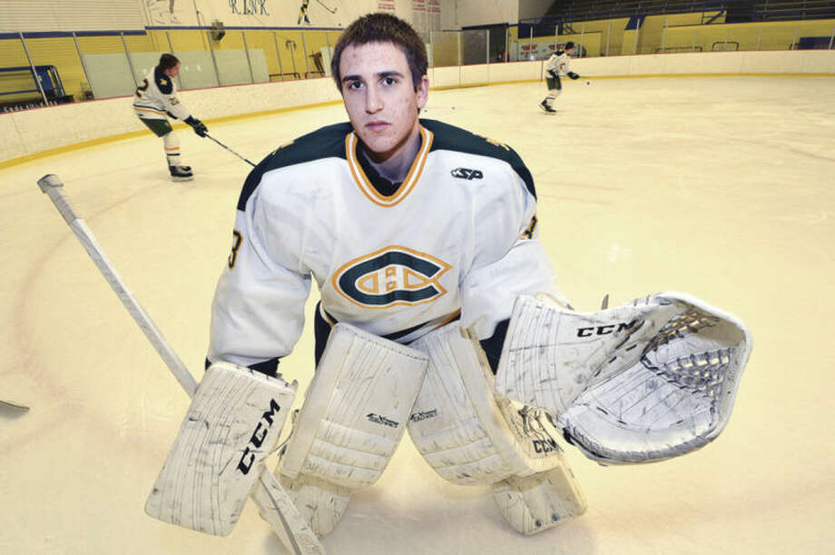 Photo by Alex von KleydorffTrinity Catholic goaltender Kyle Odierno has played himself into one of the best position players in the state and has led the Crusaders to an undefeated 8-0 start to the season.
