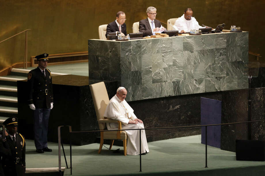 Pope Francis arrives to address the 70th session of the United Nations General Assembly, Friday, Sept. 25, 2015 at United Nations headquarters. (AP Photo/Mary Altaffer)