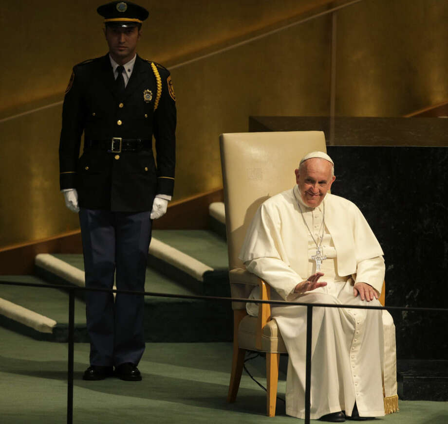 Pope Francis prepares to address the 70th session of the United Nations General Assembly, Friday, Sept. 25, 2015 at United Nations headquarters. (AP Photo/Seth Wenig)