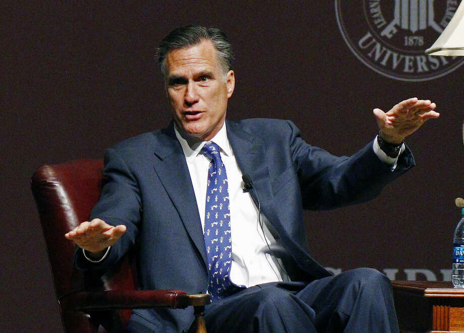 FILE - In this Jan. 28, 2015 file photo, former GOP presidential candidate Mitt Romney speaks at Mississippi State University in Starkville, Miss. Closing in on a decision about whether to again run for president, Mitt Romney is finding that several past major fundraisers and donors in key states have defected to former Florida Gov. Jeb Bush. The donors, in interviews with The Associated Press, said they see in Bush what they liked about Romney in 2012, namely what they believe it takes to serve successfully as president, but also something he could not muster in his two previous campaigns: what it takes, both in personality as a candidate and in a supporting staff, to win the White House for the GOP. (AP Photo/Rogelio V. Solis)