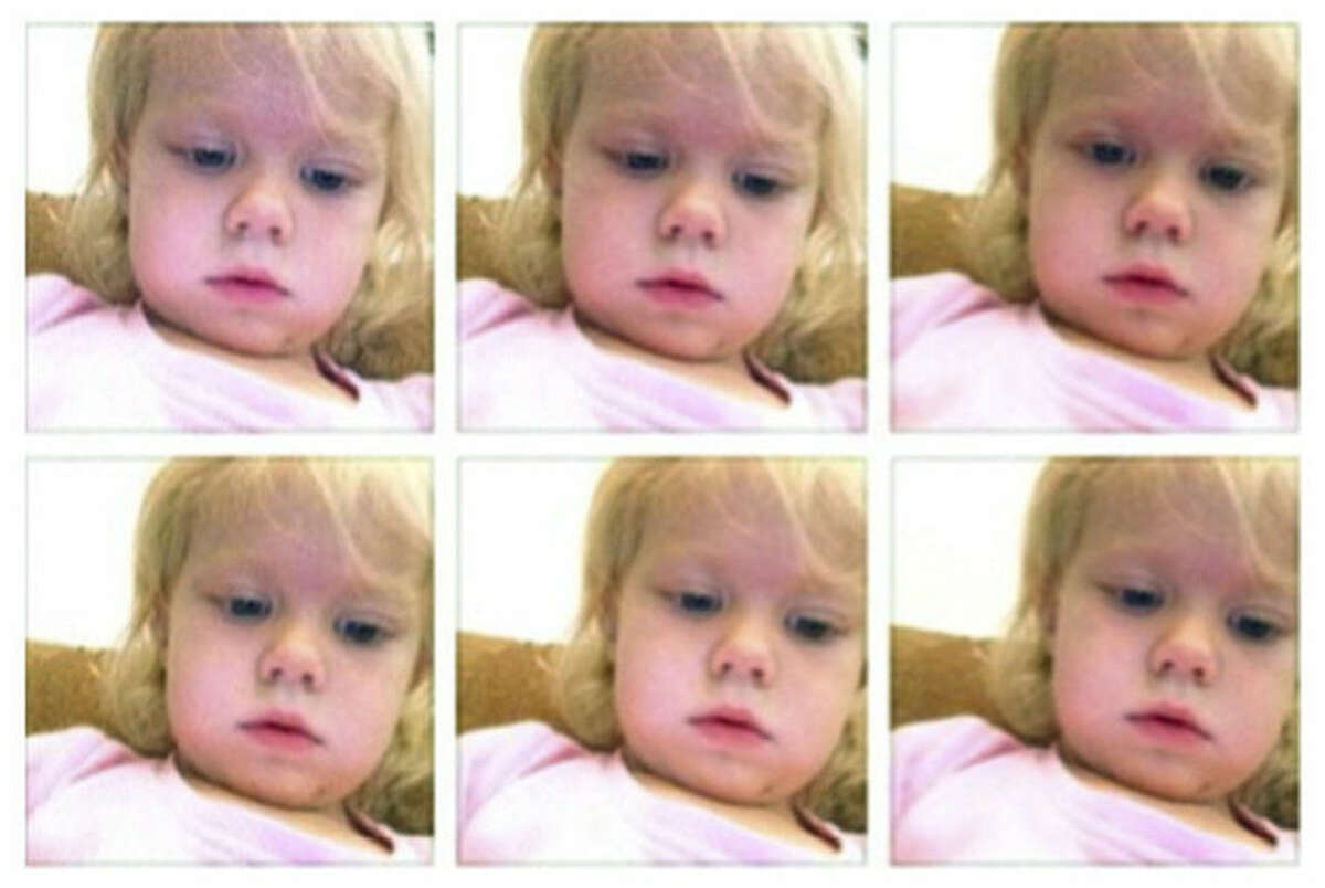 This January 2014 screen grab shows a photo collage provided by Brandi Koskie of her daughter, Paisley, 3, in selfies that Paisley shot on her mother?'s phone in an unsupervised moment at her Wichita, Kansas home. An increasing number of parents of toddlers are finding their tech-savvy 2- and 3-year-old kids are obsessed with selfies. (AP Photo/Brandi Koskie)
