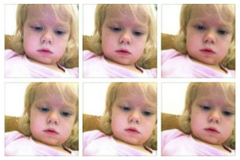 This January 2014 screen grab shows a photo collage provided by Brandi Koskie of her daughter, Paisley, 3, in selfies that Paisley shot on her mother's phone in an unsupervised moment at her Wichita, Kansas home. An increasing number of parents of toddlers are finding their tech-savvy 2- and 3-year-old kids are obsessed with selfies. (AP Photo/Brandi Koskie)