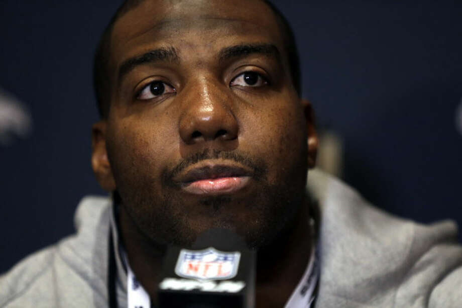 Seattle Seahawks offensive tackle Russell Okung listens to a question during a news conference Monday, Jan. 27, 2014, in Jersey City, N.J. The Seahawks and the Denver Broncos are scheduled to play in the Super Bowl XLVIII football game Sunday, Feb. 2, 2014. (AP Photo/Jeff Roberson)