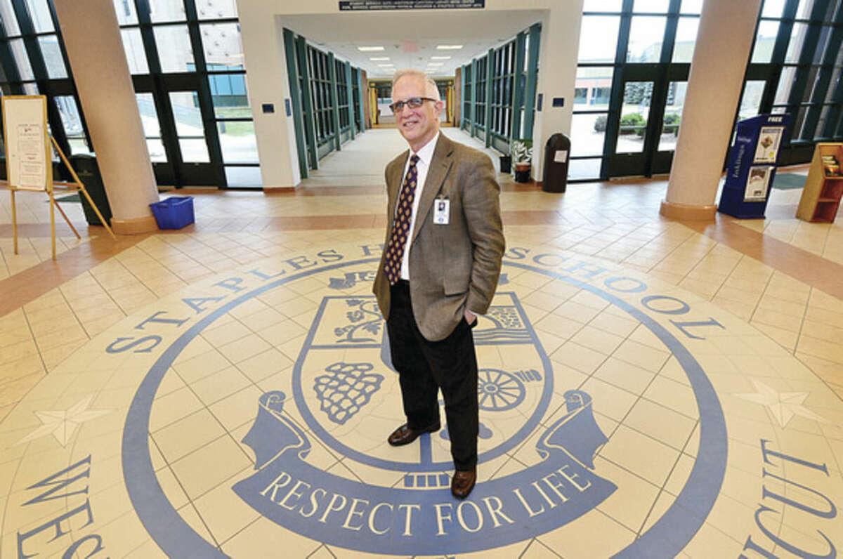 Hour photos/Erik Trautmann John Dodig, principal of Staples High School, is retiring after 11 years at the helm of the Westport school.
