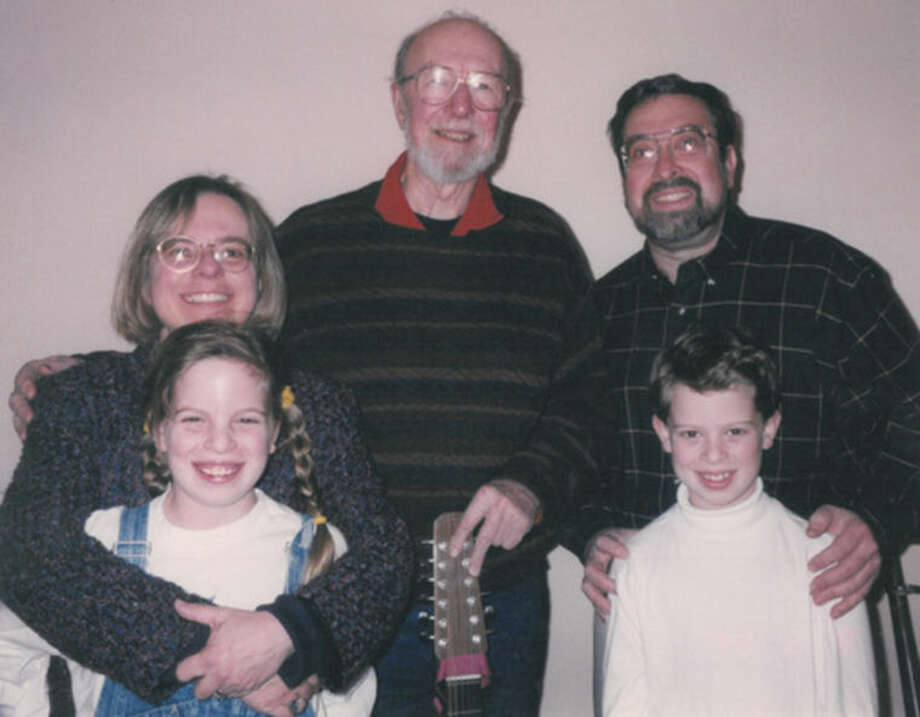 Contributed by Alex KnoppFolk singer Pete Seeger with former Norwalk Mayor Alex Knopp and his family at Norwalk City Hall in 1998.