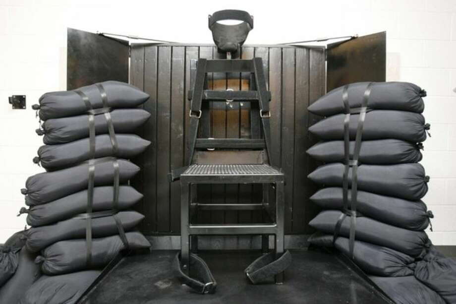 FILE - In this June 18, 2010 file photo is the firing squad execution chamber at the Utah State Prison in Draper, Utah. With lethal-injection drugs in short supply and new questions looming about their effectiveness, lawmakers in some death penalty states are considering bringing back relics of a more gruesome past including firing squads. (AP Photo/Trent Nelson - Pool, File)