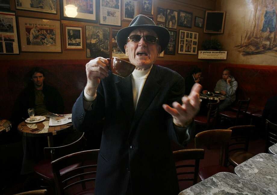 "Giovanni ""Gianni"" Giotta, seen in 2006, remained a vivid presence at Caffe Trieste well into his 90s. The Italian immigrant founded the celebrated coffee shop in North Beach in 1956. Photo: Mike Kepka, SFC"