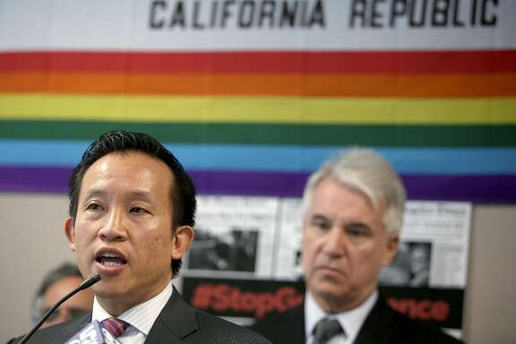 David Chiu (D-San Francisco, left) speaks about gun safety bills in solidarity with other political leaders and gun safety communities during a press conference at the Hiram Johnson State building on Monday, June 13, 2016 in San Francisco, Calif.
