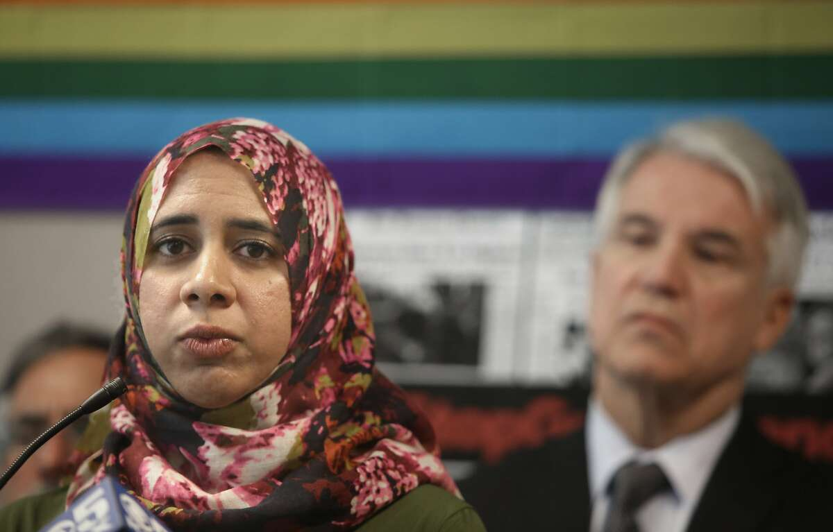 Zahra Billoo (left), local chapter head of the Council on American-Islamic Relations, was accused of anti-Semitism over tweets critical of Israel, and is off the Women's March board.