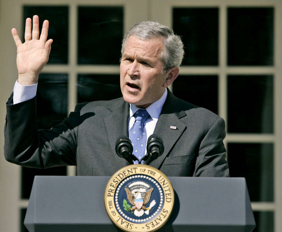 FILE - In this April 3, 2007 file photo, President Bush speaks about the congressional debate on Iraq war spending, in Rose Garden of the White House in Washington. A dozen years later, American politics has finally reached a rough consensus about the Iraq War: It was a mistake. Liberals have been saying that for years, of course, and polls show most of the public already had judged the war a failure. Even many Republican politicians have allowed that the failure to find weapons of mass destruction in Iraq undermined the rationale for the 2003 invasion. Now the nation has come to the point where presidential candidates find it safer to acknowledge that 4,491 Americans and countless Iraqis died as a result of a colossal blunder than to defend President George W. Bush's war. (AP Photo/Charles Dharapak. File)