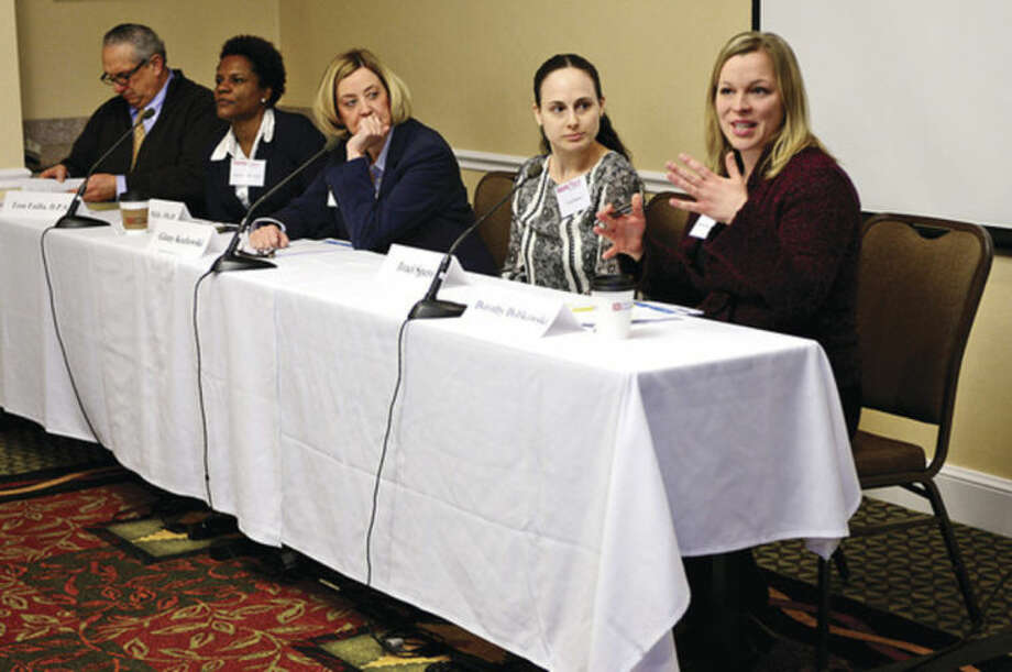 Hour photo / Erik Trautmann The second of Workplace Inc.'s Workforce Forum Series, Retail and Hospitality, featured a panel including Dorothy Dobkowski, Team Member Services/ Recruiting for Whole Foods, at the Hilton Garden Inn Thursday morning.
