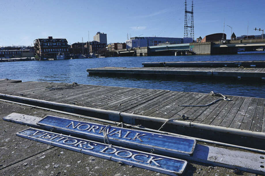 Hour photo / Erik Trautmann Boaters and shellfisherman called into question the dredging of Norwalk River, which they think caused damage to NorwalkÕs Visitors Dock.