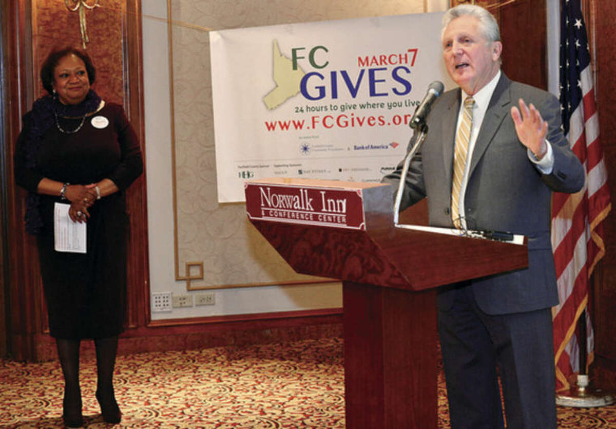 Hour photo / Erik Trautmann Norwalk Mayor Harry Rilling speaks during the launch of Fairfield County Giving Day at the Norwalk Inn Friday morning. Fairfield County Giving Day is an initiative to raise $1 million for up to 400 Fairfield County, Connecticut nonprofits in 24-hours.
