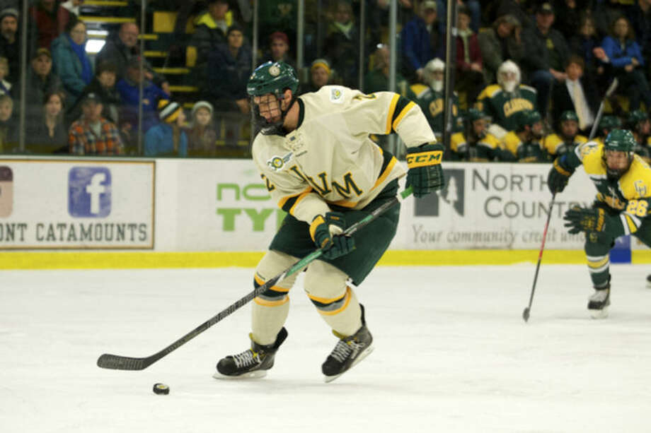 Contributed PhotoMichael Paliotta, a Westport native, will help anchor the Catamounts' blue line as Vermont takes on top-ranked Union at Webster Bank Arena Friday afternoon.
