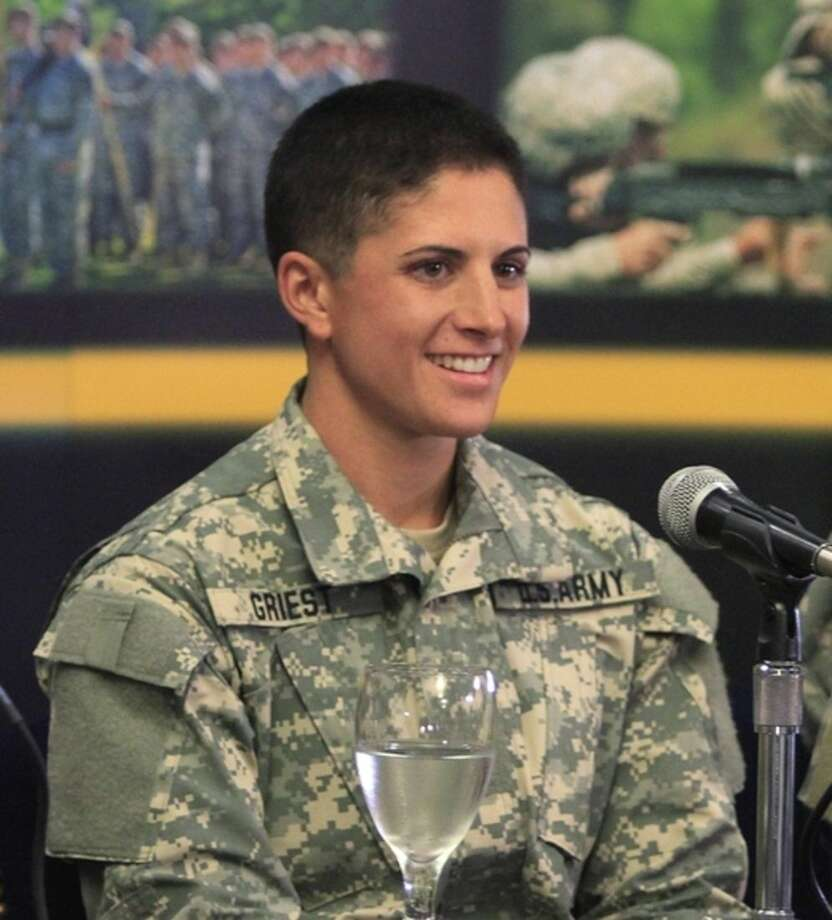 U.S. Army Capt. Kristen Griest of Orange, Connecticut, speaks with reporters Thursday, Aug. 20, 2015, at Fort Benning, Ga., where she is scheduled to graduate Friday from the Army's elite Ranger School. Griest and 1st Lt. Shaye Haver are the first two women to complete the notoriously grueling Ranger course, which the Army opened to women this spring as it studies whether to open more combat jobs to female soldiers. (Mike Haskey /Ledger-Enquirer via AP) MANDATORY CREDIT