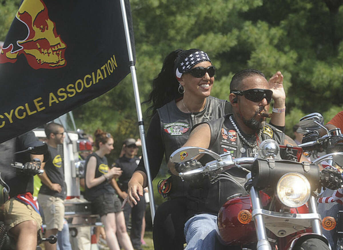 Hour photo/Matthew Vinci The 15th annual CT United Ride, Connecticut's largest 9/11 Tribute in New England, takes off from Norden Place in Norwalk on Sunday.