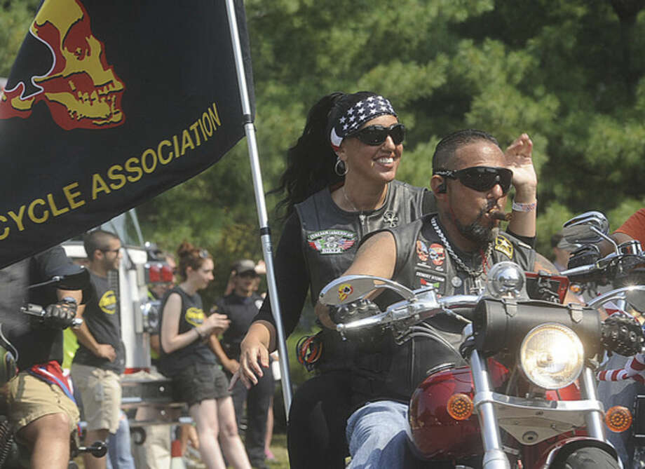 Hour photo/Matthew VinciThe 15th annual CT United Ride, Connecticut's largest 9/11 Tribute in New England, takes off from Norden Place in Norwalk on Sunday.