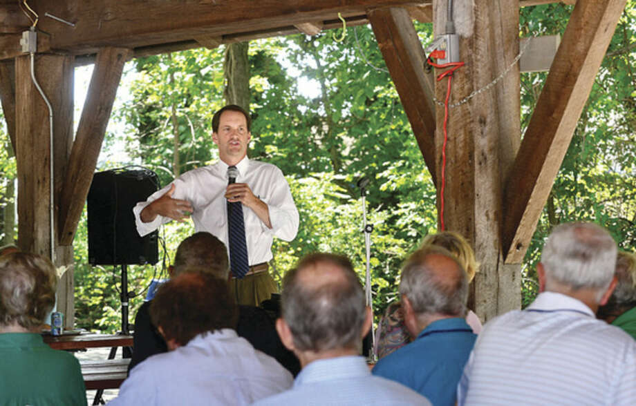 Hour photo/Erik TrautmannUS Congressman Jim Himes speaks to Wilton Kiwanis Club with an update on foreign relations at the Wilton Family YMCA Wednesday.