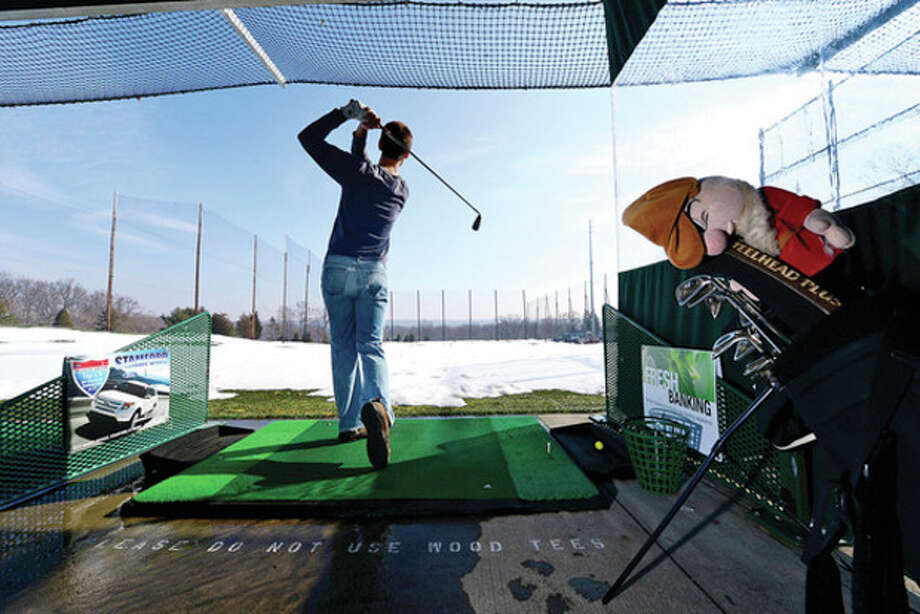 Hour photo / Erik TrautmannBill Jaroszynski has been attending Sterling Farms Golf Club driving range in Stamford every week for 16 years. Oak Hills Golf Club in Norwalk looks to build its own driving range amidst controversy. / (C)2012, The Hour Newspapers, all rights reserved