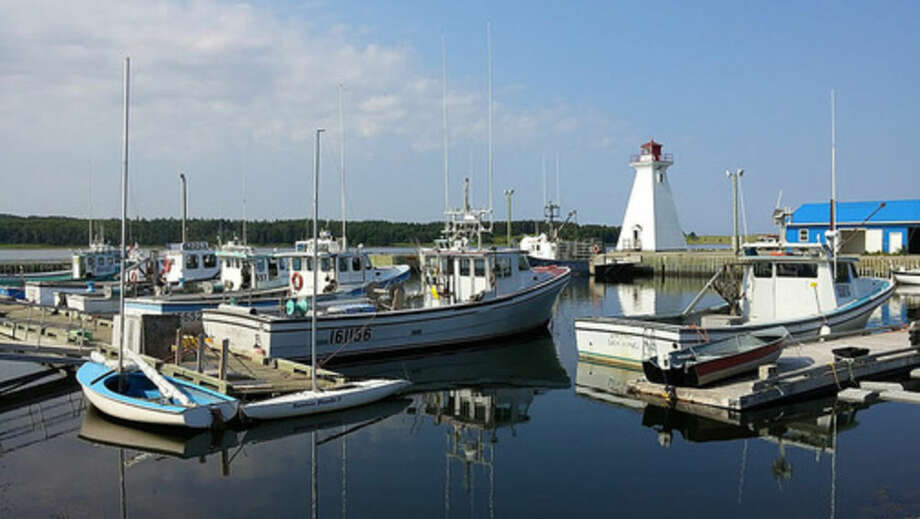 Photo by Frank WhitmanLobster boats at Mabou Harbor on Cape Breton Island.