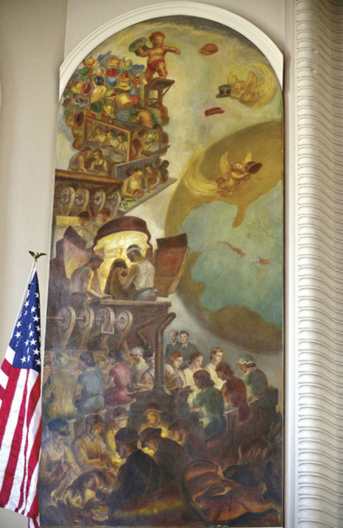 """Hour photo / Erik Trautmann The Norwalk Arts Commission conducts tour guide training session for Works Progress Administration artwork like the """"Modern Hat Industry"""" mural by John Steuart Curry at City Hall."""