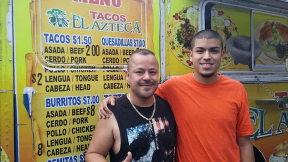 Photo by Frank WhitmanJuan and son Alex at El Azteca.