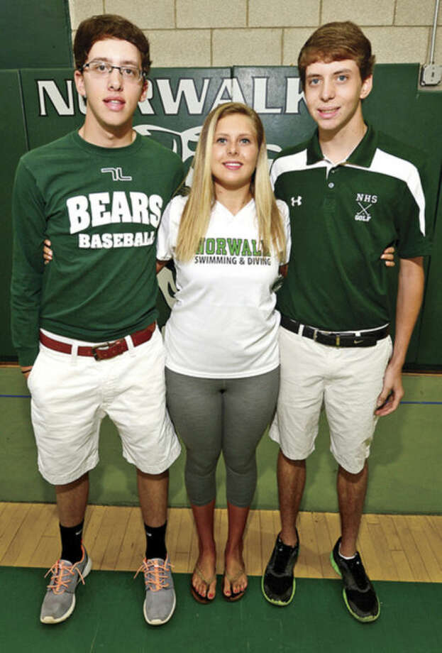 Hour photo/Erik TrautmannThe Henderson triplets, (l-to-r) Thomas in baseball, Sarah in swimming, and James in golf, have been a part of the Norwalk High School athletic scene for the past four years.