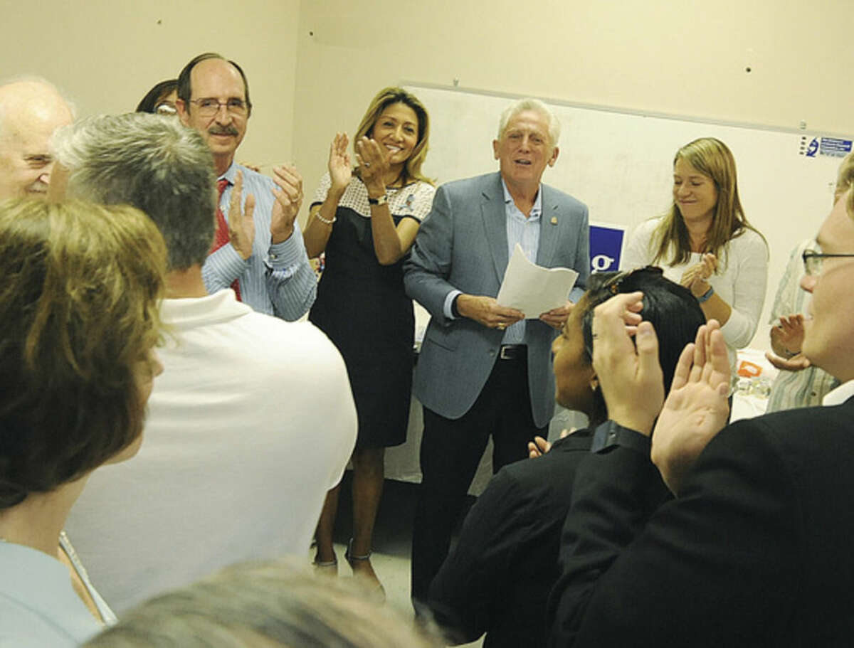 Norwalk Mayor Harry Rilling kicks off the election season at his headquarters located at 25 Van Zant Street in Norwalk. Hour photo/Matthew Vinci