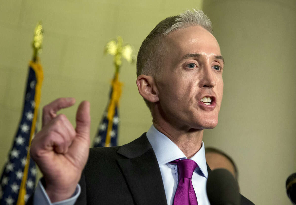 House Select Committee on Benghazi chairman Rep. Trey Gowdy, R-S.C. speaks to reporters at the conclusion of his committee's hearing with former Secretary of State Hillary Rodham Clinton on Capitol Hill in Washington, Thursday, Oct. 22, 2015. (AP Photo/Manuel Balce Ceneta)