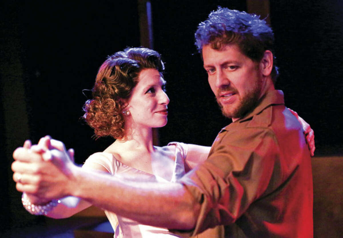 Hour photo/Chris Palermo Katerina Papacostas and Daniel C. Levine in the production of