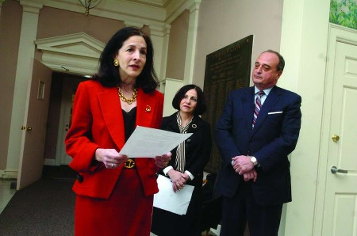 Gail Lavielle announces she will run for the 143rd representitive seat. State Sen. Toni Boucher and state Rep. Larry Cafero introduced her at Wilton Town Hall on Friday/photo matthew ivnci