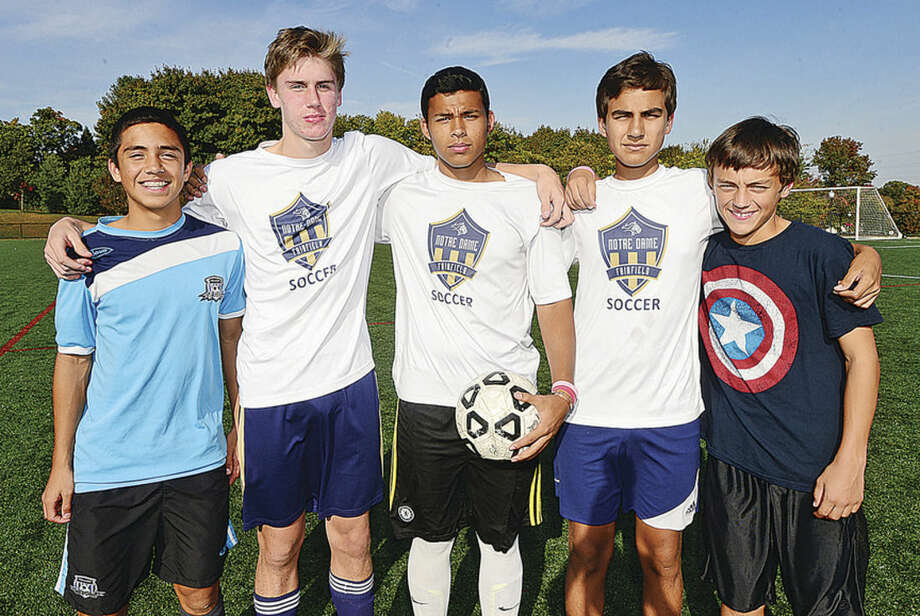 Hour photo/Erik TrautmannThe Notre Dame of Fairfield boys soccer team sports several players from the city of Norwalk on its roster, including, from left, Joshua Velez, Colin Burke, Sebastian Arbelaez, Jeffrey Franco and Sean Buzzee. Missing is Sebastian Velez.