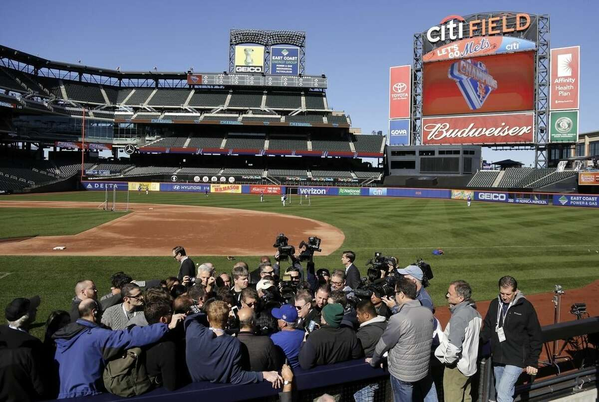 New York Mets manager Terry Collins answers questions for members of the media during a voluntary team workout, Friday, Oct. 23, 2015, in New York. After sweeping the Chicago Cubs to win the NLCS, the Mets will play in the World Series against the winner of the ALCS. (AP Photo/Julie Jacobson)