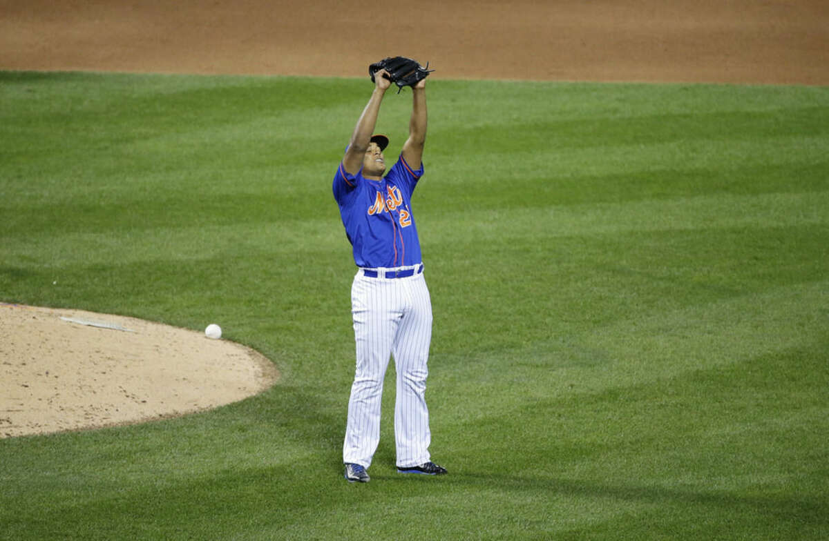 New York Mets' Jeurys Familia reacts after Game 1 of the National League baseball championship series against the Chicago Cubs Saturday, Oct. 17, 2015, in New York. The Mets won 4-2 to take a 1-0 lead in the series. (AP Photo/Frank Franklin II)