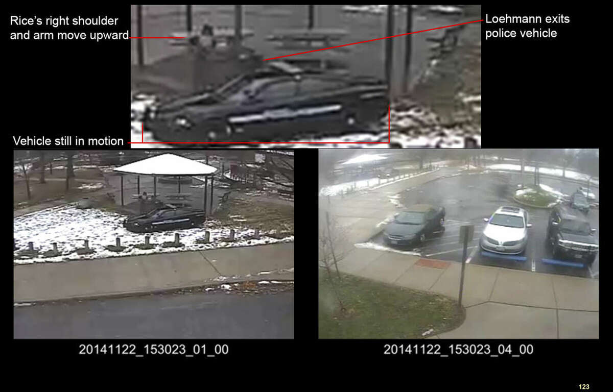 FILE - This file photo of a combination of still images taken from a surveillance video recorded on Nov. 22, 2014, and released Saturday, Nov. 28, 2015, by the Cuyahoga County Prosecutor's Office, shows Cleveland police officers arriving at Cudell Park on a report of a man with a gun. Twelve-year-old Tamir Rice was fatally shot by a Cleveland police officer on Nov. 22, 2014, after he reportedly pulled a replica gun at the city park. Cuyahoga County prosecutor Tim McGinty announced Monday, Dec. 28, 2015, that a grand jury declined to indict the officer. (Cuyahoga County Prosecutor's Office via AP, File)