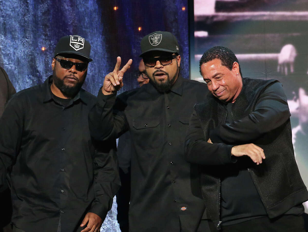 Ice Cube, with MC Ren and DJ Yella of N.W.A.