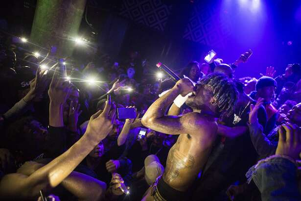 Lil Uzi Vert performs at SOBs music venue and restaurant in New York, Feb. 23, 2016. Lil Uzi shared a bill with Playboy Carti. (Jessica Lehrman/The New York Times)