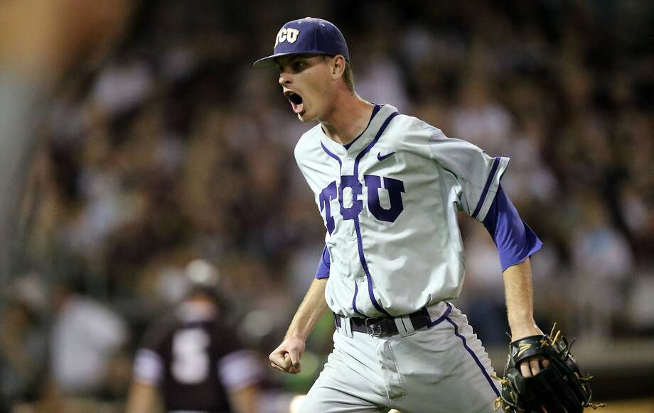Brian Howard struck out 12 in a shutout to help second-seeded TCU advance in the Big 12 Conference Tournament with a 6-0 win over Kansas on Friday night. Photo: Sam Craft, Associated Press
