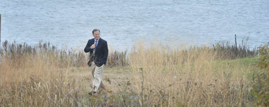 Hour Photo/Alex von Kleydorff Stewart HudsonExecutive Director, Vice President Audubon Connecticut takes a walk along the shoreline on the DuPont property at Stratford Point during a Long Island Futures Fund 2015 Grant Award Announcement