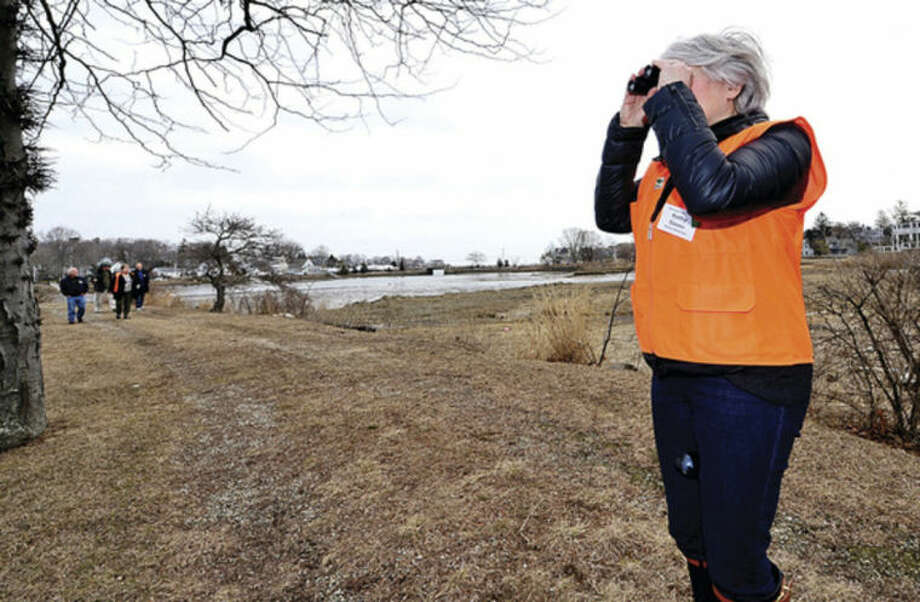 Hour photo / Erik Trautmann Land Trust president Cathy Siever looks out onto the salt marsh as the group hikes to view Old Trolly peninsula at 2 Nearwater Lane as the Norwalk Land Trust hosts a tour of all of its properties Saturday morning.
