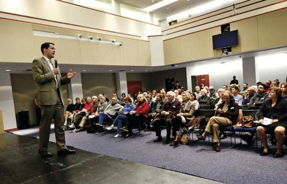 Hour photo / Erik Trautmann US Congressman Jim Himes holds a town hall style meeting at UCONN Stamford Campus Saturday afternoon.