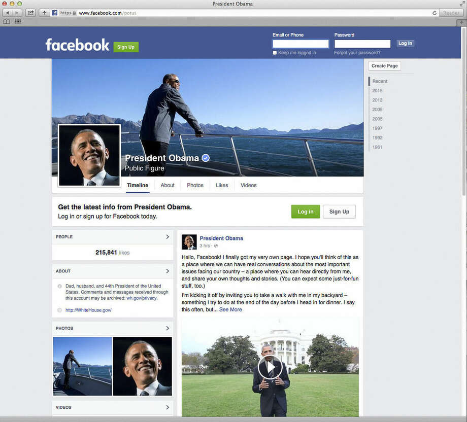 """The screen image from Facebook.com shows the Facebook page of President Barack Obama. Obama wants you to like him. And comment on him. And share his posts, too. The president now has his own personal Facebook page. """"President Obama, public figure"""" went live Monday, Nov. 9, 2015. (Facebook.com via AP)"""