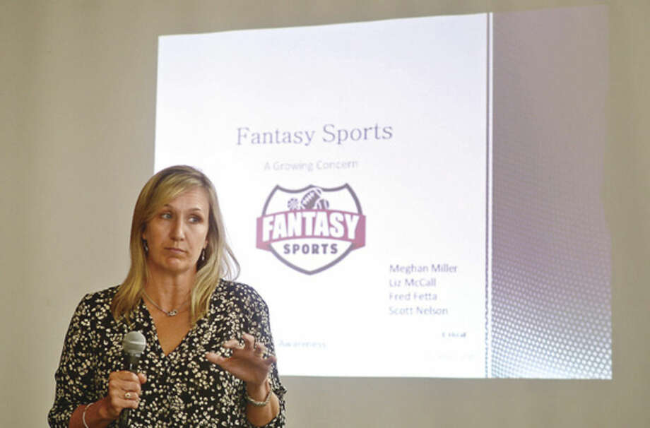 Hour photo / Erik Trautmann Experts from the Region 1 Gambling Awareness Team including Liz McCall discuss the proliferation of daily sports fantasy gaming and the controversies surrounding this exploding industry during a informational forum at City Hall Friday afternoon.
