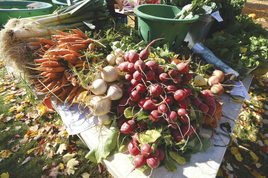 Hour Photo/Alex von Kleydorff Radishes, beets carrots and leeks at the St. Paul's Farmers Market