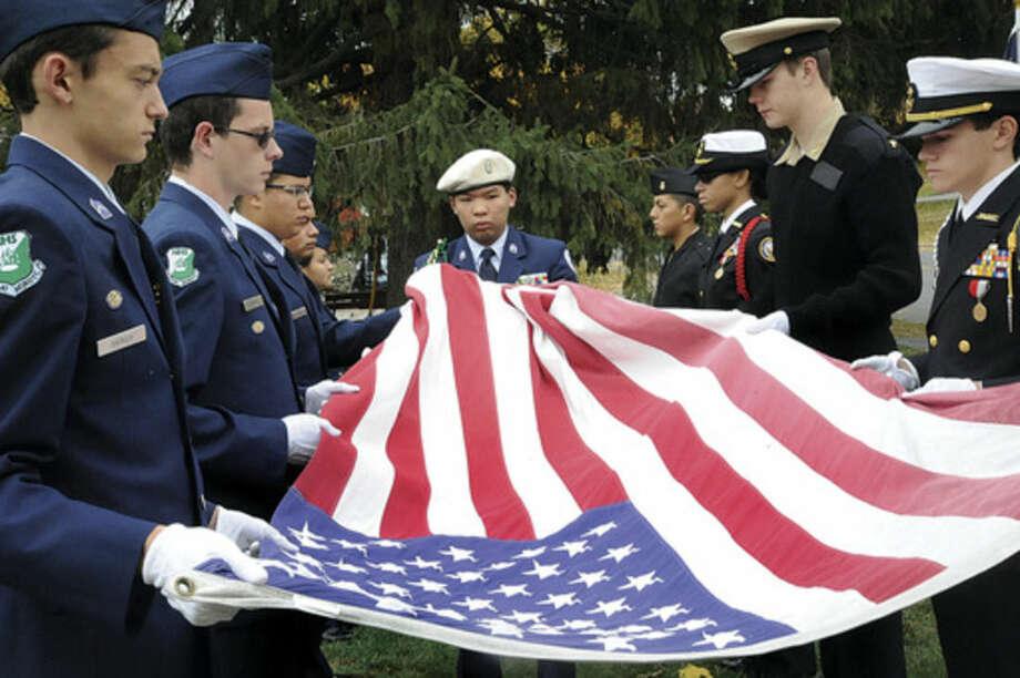 Hour photo/Matthew VinciThe Veteran of the Month ceremony honoring U. S. Army Air Corps Richard M. Ryan at American Post 12 in Norwalk.