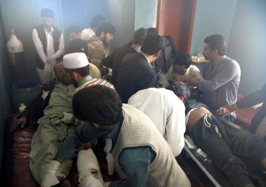 Patients are brought to a hospital after severe earthquake was felt in Mingora, the main town of Pakistan Swat valley, Monday, Oct. 26, 2015. A powerful 7.7-magnitude earthquake in northern Afghanistan rocked cities across South Asia. Strong tremors were felt in Kabul, New Delhi and Islamabad on Monday. In the Pakistani capital, walls swayed back and forth and people poured out of office buildings in a panic, reciting verses from the Quran. (AP Photo/Naveed Ali)